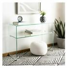 New Safavieh Clear Glass Console Side Coffee End Table Durable Beautiful Shelves