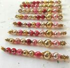 8 VINTAGE Easter Springtime MERCURY GLASS Bead Garland ICICLE Tinsel Ornaments