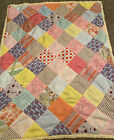 Handcrafted Baby Lap or Nap Crib or Throw Quilt 48 X 385 Vint