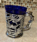 Vintage Art Deco Colbalt Blue Tankard Glass Naked Lady Handle Risque