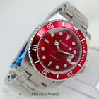 40mm Japan Miyota 8215 NH35 Automatic Mens Watch Sapphire Glass Red Dial