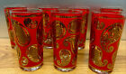 Culver Red  Gold Paisley Vintage set Of 7 Highball Glasses 12oz 5 1 2 EUC