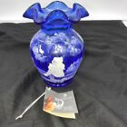 Fenton Art Glass 5 Cobalt Blue Vase Hand Painted A Mary Gregory Design