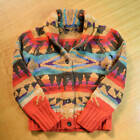 Ralph Lauren Native Indian Navajo Wool Cashmere Hand Knit Cardigan Sweater SizeM