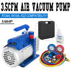 35CFM 1 4HP Air Vacuum Pump HVAC + R134A Kit AC A C Manifold Gauge Set Free Oil