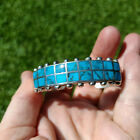 Native American southwestern sterling silver 925 turquoise inlay cuff bracelet