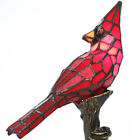 Red Cardinal Stained Glass 135 Accent Lamp Bronze Base For Home Display NEW