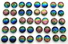 RAINBOW FOR POST EARRINGS TINY Lot 40 pcs round DICHROIC FUSED GLASS H2 CABS