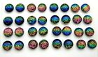 RAINBOW FOR POST EARRINGS TINY Lot 32 pcs round DICHROIC FUSED GLASS D25 CABS