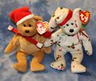 LOT OF 2 CHRISTMAS TY BEANIE BABIES 1998 Holiday Teddy &
