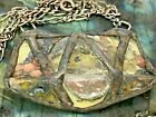Handmade Vintage Sterling Silver Art Glass Brutalist Style Necklace 19