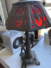 Beautiful Antique Cherub Lamp with red glass