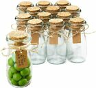 Small Glass Bottles with Cork 34 oz Mini Jars with Lids for Party Favors Set