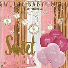 Sweet Baby Girl Shower Decorations Kit With Rose Gold Blush Curtain Backdrop 2