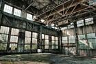 Derelict Factory Warehouse Contemporary Industrial Glass Wall Art 120cm x 80cm