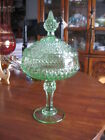 S5 Vintage Indiana Glass Diamond Point Lidded Candy Dish Compote green