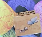 House Mouse Wood Rubber Stamp Butterfly Express + Dont String Me Along Phrase
