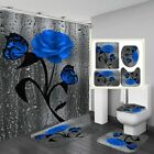 Waterproof Shower Curtain Butterfly Rose Toilet Lid Cover Bathroom Mat Sets