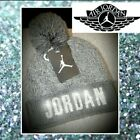Bling Swarovski Crystals Customized Nike Air Jordan PomPom Beanie Gray NWT