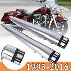 DNA 4 Megaphone Slip On Mufflers Exhaust Pipes CHROME For Harley Touring 95 16