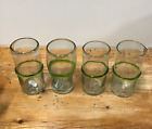 Recycled Mexican Green Rim Glasses Set of 4 Tall Tumbler