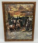 Native American Indian Camp  Horses Painting Framed 1000 Piece Jigsaw Puzzle