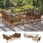 4 Piece Solid Acacia Wood Dining Sets Outdoor Patio Furniture Chat Set