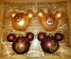 Set of 4 Disney Parks Glass Christmas Ornament Mickey Mouse Ears Castle Red Gold