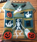 Peggy Karr Glass Halloween Haunted House Tray Signed Pumpkins Ghosts Black Cat