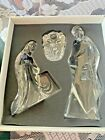Mikasa CRYSTAL GLASS NATIVITY 3 pc Full Lead Crystal figures Germany LARGE SET