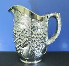 RARE Imperial Smoke Lustre Glass Pitcher Chrome Mirror Silver GRAPES Leaves IG