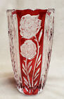 Vintage Rosaline RUBY RED  CLEAR Cut Glass VASE 24 Lead Crystal Germany