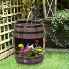 2 Tiers Outdoor Wooden Water Pump Fountain Patio Decor Durable Sturdy