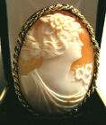 PRETTY LARGE ART DECO NOUVEAU SOLID 14K YELLOW GOLD CARVED SHELL WOMAN CAMEO PIN
