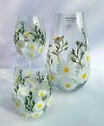 Hand Painted Wine Glass Coffee Tea Cup Flower Vase White  Yellow Spring Daisy