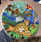 Peggy Karr Glass Jungle Rain Forest Leopard Monkey Parrot Tray 11 Signed