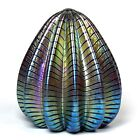 Robert Held Art Glass Iridescent  Pulled Feather Design  Paperweight  Signed
