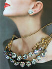 C30s ART DECO CZECH IRIS RAINBOW GLASS CRYSTAL RHINESTONES ROLLED GOLD NECKLACE