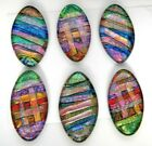 Lot of 6 pcs OVAL DICHROIC FUSED GLASS for pendant C12 CABS HANDMADE