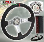 Jdm 350mm Black Silver Deep Dish Steering Wheel With Red Stitching For Nissan
