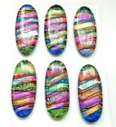 NARROW Lot of 6 pcs OVAL DICHROIC FUSED GLASS for pendant P8 CAB HANDMADE