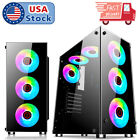 Gaming Computer PC Case ATX Mid Tower With Transparent Glass Windows 30 USB