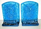 Vintage Blenko Art Glass Blue Owl Bookends Pair