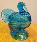 Vintage LE Smith USA Turkey Blue Glass Jam Jar Covered Candy Dish Bowl + Lid