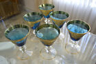 WINE GLASSES BLUE WITH GOLD TRIM Set of 6 VINTAGE