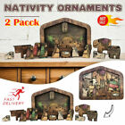 2 Pack Wooden Nativity Puzzle with Wood Burned Design Jesus Jigsaw Game