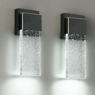 Outdoor Wall Sconce 2 Pack Wall Light Fixture with Bubble Glass Oil Rubbed Br