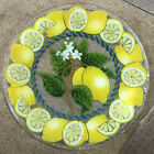 Peggy Karr Glass Lemon Slices With Flower 11 Tray Signed