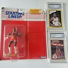 Original 1990 Starting Lineup M.J Figure and graded Rookie & Brown cards SNC 8