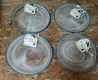 THE ART OF TABLETOP ARDACAM PEARL WHITE OPAL IRIDESCENT GLASS SALAD PLATES S 4